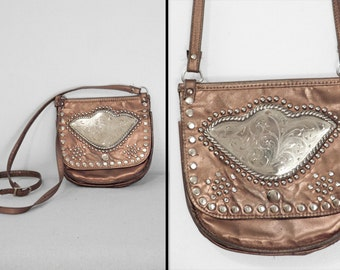 MOROCCAN Leather Purse Copper Embellished Handbag Silver Studded