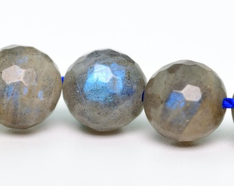 "6MM Labradorite Beads Madagascar Micro Faceted Round Grade A Genuine Natural Gemstone Beads 15.5"" BULK LOT 1,3,5,10,50 (100227-274)"