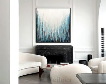 Original abstract art painting contemporary chalky white blue acrylic modern abstract fine art 30 x 30 by L.Beiboer