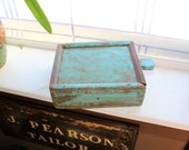 Antique Country Blue Wood Box with Handle and Sliding Lid Farmhouse Decor