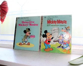 2 Little Golden Books Mickey Mouse Vintage Childrens Book