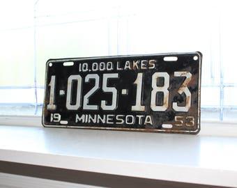 Vintage 1953 Minnesota License Plate Man Cave Decor