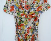 30's Shawl Collar Dress Midnight Floral Print Rayon Lawn Party Belted Day Dress XS S