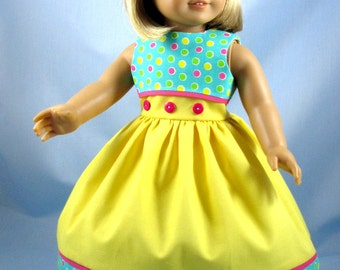 Doll Clothes 18 Inch - Dress fits American Girl Doll - Yellow and Turquoise