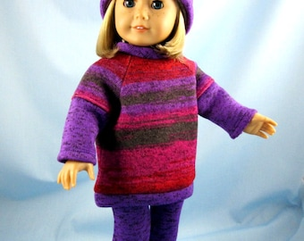 18 Inch Doll Clothes - Knit/Fleece Tunic, Hat and Leggings - Will Fit American Girl Dolls - Three Piece Doll Outfit