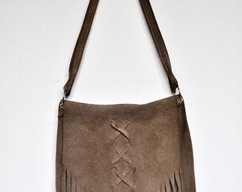 Vintage Minnetonka Tan Split Suede Handbag Fringe Purse