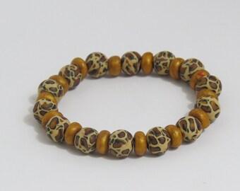 Bracelet, Artisan Bracelet, Leopard print bracelet, Jewelry, Animal print, Beaded bracelet, leopard bracelet, unique bracelet, shygar beads
