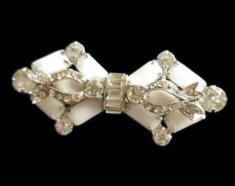 Weiss Brooch Milkglass Rhinestone Brooch Vintage Wedding Jewelry For Brides White Jewelry Weiss Jewelry