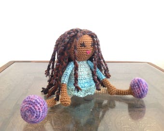 READY TO SHIP Crochet African American Doll with Braids, in blue green purple, Plush Natural Black Brown Hair Stuffed Toy Baby Girl Gift