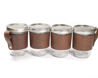 Leather Mason Jar Handle for Wide Mouth Pint Jar Ball / Kerr Four Pack