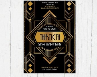 Birthday Invitation, Great Gatsby Party, New Year, Art Deco, 1920s, Gangsters & Flappers, Speak Easy, Glitz and Glamour, Vintage - Digital