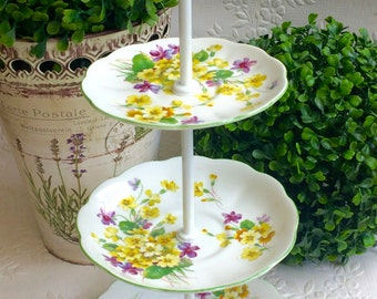 3 tier Green & Yellow Royal Albert Primulette Small Cake Stand