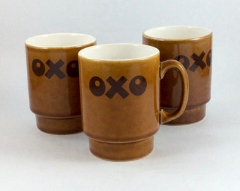 OXO coffee mugs, tea mugs, soup mugs. Stackable. Vintage brown ceramic with brown logo. For home use or coffee house, café, restaurant.