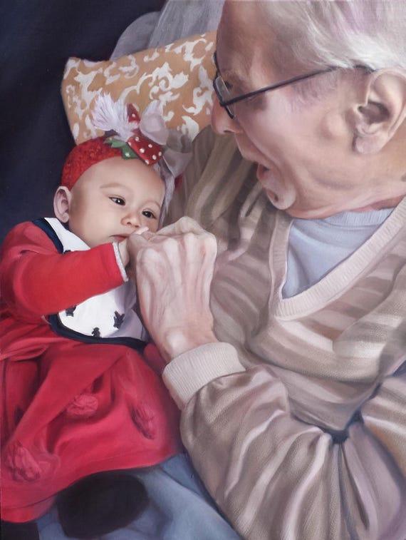 CUSTOM PORTRAIT - Oil Painting - Custom Painting - Grandpa - Gift for Grandparents