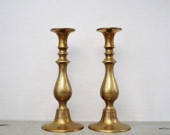 Vintage Brass Candlestick Holders - Table Centerpiece Brass Wedding Decor - Tall Brass Candlestick Set - Large Brass Candlesticks