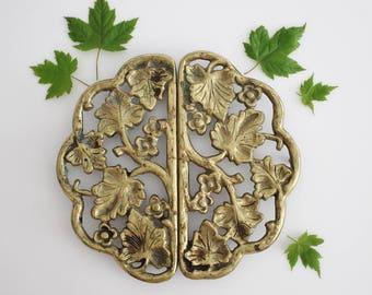 Vintage Harvin Brass Trivets  - Two Piece Set Floral Leaf Design Virginia Metalcrafters Brass Trivets