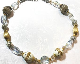 Glamorous Gold tone and Sparkling Crystal necklace in sterling silver