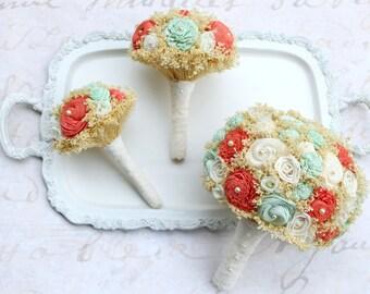 Honeycrisp Wedding Flower Collection Set // The SunnyBee, Keepsake Bouquet, Mint Green, Coral, Wedding Bouquets, Bridal Flowers, Bouquet Set