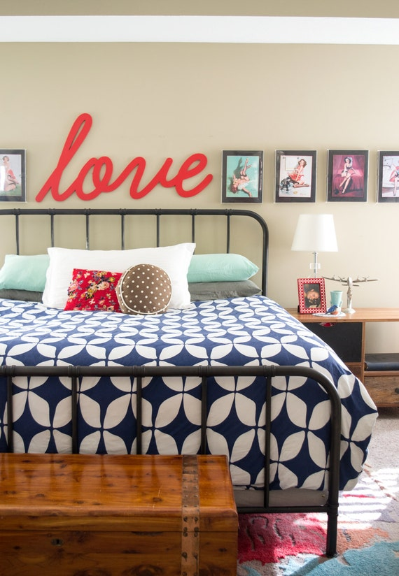 Above bed decor love sign wooden large love sign master for Bed love decoration