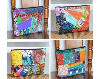 MADE TO ORDER Zipper Pouch Patchwork All Purpose Pouch Crazy Quilt Pencil Case Pencil Pouch Cosmetic Toiletry Bag Zipper Pouch Pencil Holder