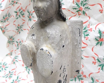 Vintage Hand Carved Santos Angel,  Hand Painted