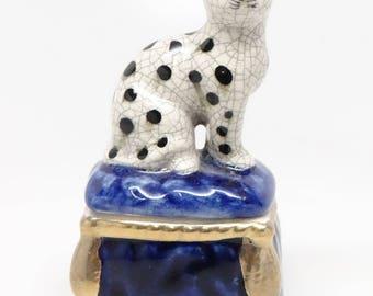 Vintage Enamel China Box, Dog on Cushion