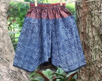 Boys Harem Pants, Boho Boys Trousers Brown And Indigo Batik, Toddlers Cotton Pants, Baggy Pants FREE Worldwide Shipping