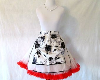 Vintage Half Apron '50s White and Black Floral Cotton with Organza and Black Ric Rac Trim