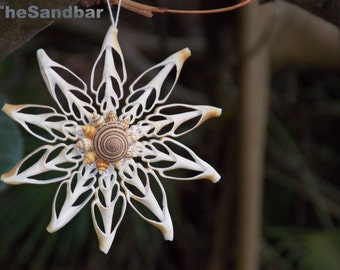 Seashell Ornament Gift Natural Snowflake Ornament, Sliced Shell Ornament, Holiday Beach Decor Christmas Ornament, Mermaid Flower -TheSandbar