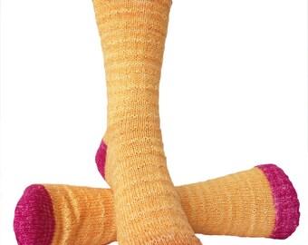 Socks, Hand Knit Unique Socks, Designer Socks, Yellow Raspberry, Fashion Socks, Boho Socks, Men Women Socks, Hipster Socks, Unique, Gift