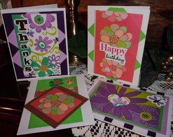 Flower cards, Set of 4, Greeting cards, Small cards, Note cards, Happy Birthday, Thanks, Floral, Green, Pink, Purple, ArtFromTheCabin
