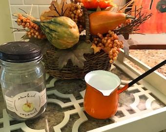 Vintage Enamel Ladle Dipper Turkish Coffee Pot Orange Tangerine Citrus Enamelware Farmhouse French Country Kitchen