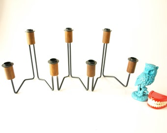 Vintage 60s danish mid century modern teak wood adjustable candlestick holder candle stand centerpiece