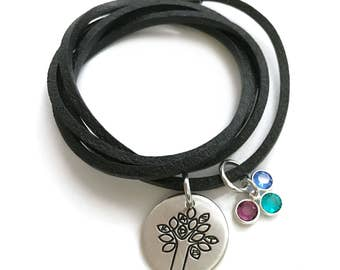 Mother's Day Gift - Family Tree Initials Birthstone - Mom Leather Bracelet - Name Jewelry - Gift For Mom Stamped Jewelry - Engraved Jewelry