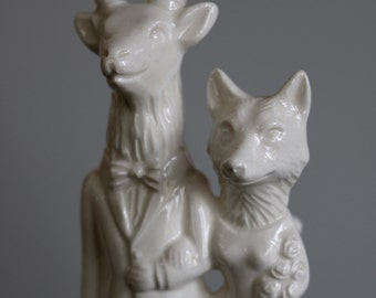 Goat and Fox Wedding Cake Topper  Handmade ceramic