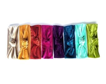 Velvet headband, boho headband, womens headband, knot headband - SET of 3 - lots of colors available- handmade with stretch velvet fabric