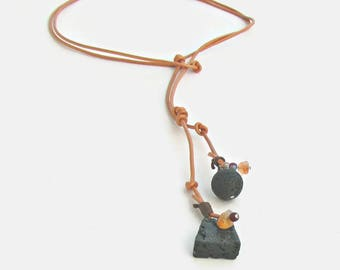 Contemporary Jewelry, Leather Lariat Necklace of Lava Rock, Stone Wear, Women Gift
