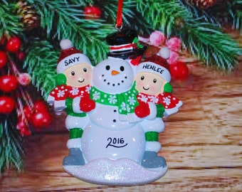 Personalized Family of 2 Building Snowman with Optional Pet Christmas Ornament