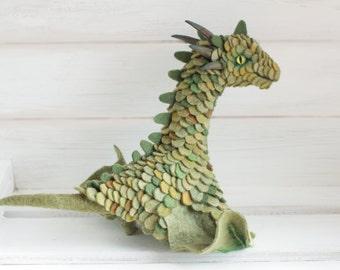 Green wyvern Needle felted dragon toy Fantasy dragon figurine