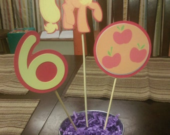 Applejack Centerpiece, My Little Pony Centerpiece with Number for Birthday Parties