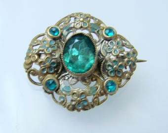 Victorian Aquamarine Paste Enamel Brooch / Goldtone Floral Accent / Vintage Jewelry / Jewellery