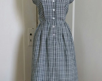Pennys Brentwood Frocks Vintage '60's Shawl Collar Dress; Button Front Black White Plaid Shirtwaist Dress/ Shirtdress 1960's Small/Medium