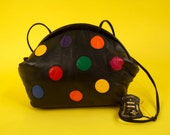 Vintage RAINBOW POLKA DOT Shoulder Bag Purse 80s' Black Leather Multicolored Spots, Clam Shape, New Wave, Glam, Nwt, Deadstock
