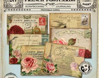 "FRENCH VINTAGE POSTCARDS 4""x3"" Digital Collage Sheet Printable Download Pdf Paris Eiffel Tower Vintage Flowers Shabby Chic Cards Tag n217"