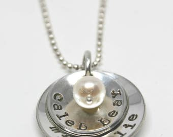 Hand Stamped Necklace - Personalized Necklace - Double Nest with Freshwater Pearl