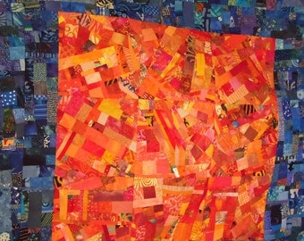 Art Quilt in Blue Hues and Oranges