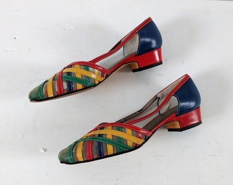 Vintage 1980s woven shoes, colorful shoes, vintage pumps, size 6
