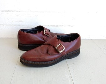 Vintage 1990s Roots leather buckle shoes size 8