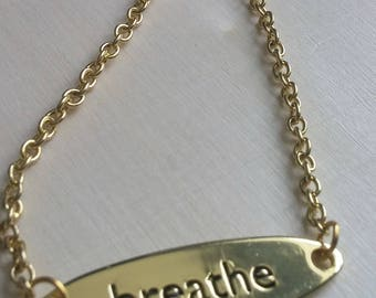 Breathe Necklace. Inspirational Word Necklace. Mantra Necklace. Yoga Necklace. Gift For Her. Graduation Gift.
