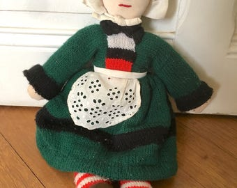 French hand-knitted doll. Brittany's Becassine dolly made of wool and fabric